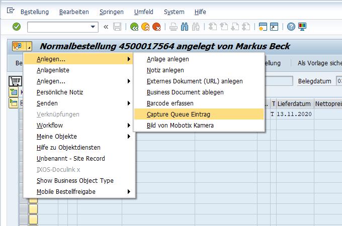 Dokumente mit Capture-Queue-Einträgen nach SAP scannen