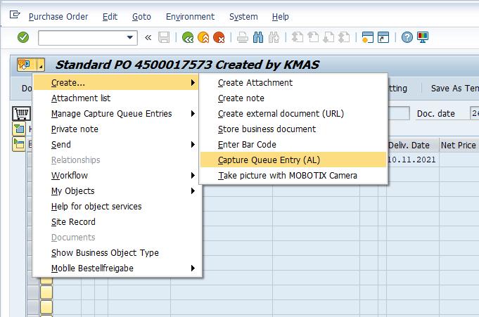 Escanee documentos a SAP usando entradas de Capture-Queue